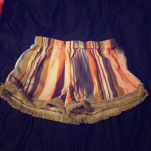 Band of Gypsies Multi Color Fringe Shorts. XS.